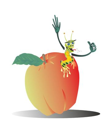 The worm eats a good apple fruit Stock Vector - 106184574
