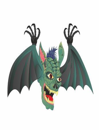 Winged head demon Halloween Иллюстрация