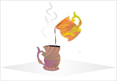 Advertising a cup of coffee pours into another cup with colored Ilustrace