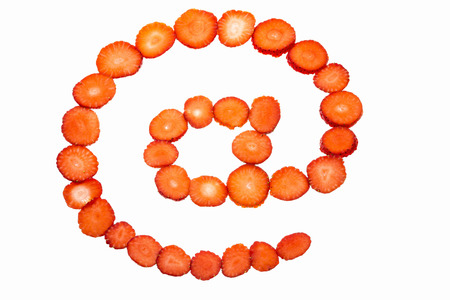 arobase: At symbol made from strawberry slices
