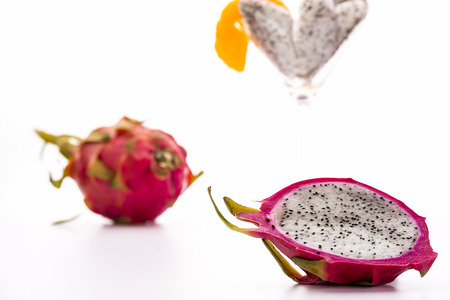 Pitaya for dessert  The blazing white and mildly aromatic pulp of the pitaya is suited for a quenching desert  Best served chilled  Assorted in a glass or in its halved rind