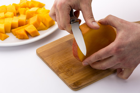 pip: How best to cut a mango? After dividing the fruit into three equally-sized slices, we do need to peel the middle slice. This slice does contain the mango?s stone.