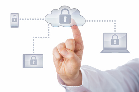 computer screen: Index finger touching a lock icon on a cloud button. The cloud symbol connects via dotted lines to a cell phone, tablet and laptop computer icon. All display the padlock on-screen. Isolated on white.