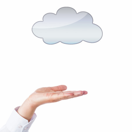 void: Open palm of a male hand facing upward towards an empty cloud icon above Stock Photo