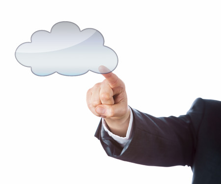 Arm in business suit is pointing index finger at a blank cloud computing icon. Do place your message, product or artwork into the empty cloud symbol! Cutout isolated on white background. Copy space.