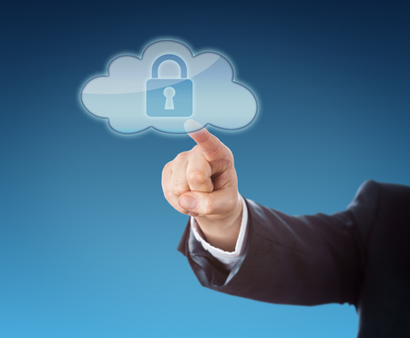 technology metaphor: Finger of a corporate person touching a cloud computing icon containing a closed lock symbol. Technology metaphor for secure mobile computing. Arm in dark blue business suit over blue background.