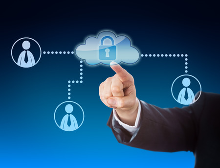 technology metaphor: Corporate arm raising index finger to point at cloud access gate in a social network. Business and technology metaphor for cloud computing, social media and hot desk in a corporate setting. Close up.