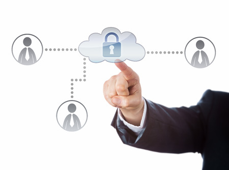 network people: Right arm in business suit reaching out to touch a locked cloud icon in a corporate social network. Technology metaphor for cloud computing security and internet privacy. Cutout isolated on white.