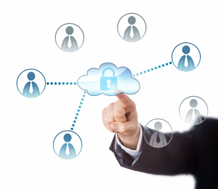technology metaphor: Index finger touching a locked cloud icon that does link to three office worker symbols in blue. Four unlinked knowledge worker buttons remain gray. Business and technology metaphor. Cutout on white.