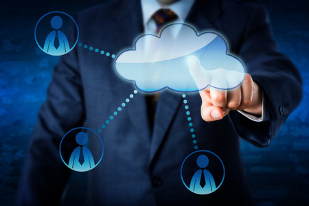 white collar: Torso of a male business manager accessing human resources by touch via cloud. Three white collar worker icons link to the cloud computing symbol. Technology metaphor. Blue brick wall in background.