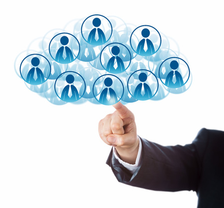 technology metaphor: Arm of a business man in blue suit is connecting to a host of office worker icons that form a virtual cloud. Technology metaphor for human resources pooling and scalability. Cutout isolated on white.