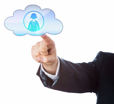 technology metaphor: Arm of business person connecting with female office worker in the cloud by touch. Technology metaphor for mobile computing human resources and gender issue. Cutout isolated on white background.