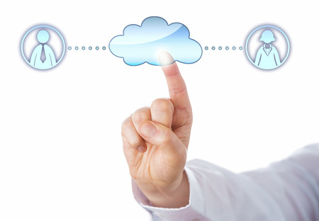 peer: Close up of an index finger touching a cloud icon to connect with a female and a male professional peer in cyberspace. Metaphor for peer to peer networking and gender equality. White background.
