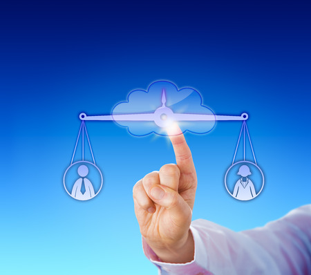 appraise: Assessing the value of one female versus one male office worker on a virtual weighing scale in the cloud by touch. Raised index finger of a white collar manager pushing a cloud button in cyber space. Stock Photo
