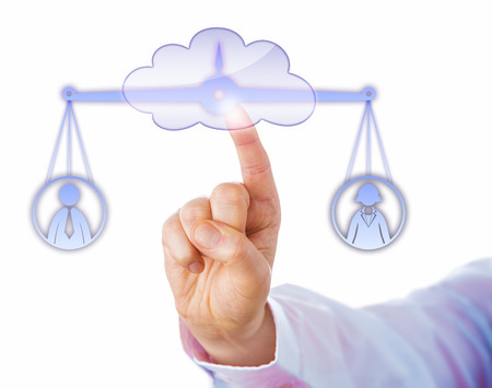 weighing scale: Index finger of a business manager touching a cloud symbol to access a virtual balance. The weighing scale is keeping a male and a female worker in temporary equilibrium. Cutout on white background.