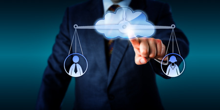 appraise: Management equating one female and one male office worker via cloud computing. Stretched index finger is touching a cloud icon that contains a balanced scale. Metaphor for gender conflict and career.