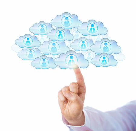 white collar: Finger of a white collar manager sourcing workers in the cloud by touch. Many cloud symbols with male and female worker icons shaping one large cloud. Metaphor for cloud sourcing and resource pooling.
