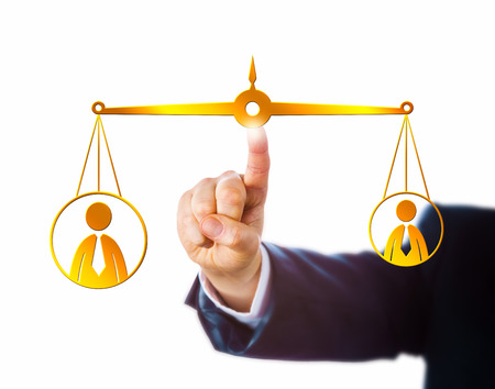 Arm in business suit reaching to touch a virtual golden pair of scales keeping a big male office worker in equilibrium with a small male knowledge worker. Metaphor for career and employment issues. Stock Photo