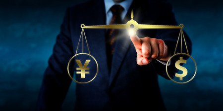 equate: Businessman equating a yuan sign at par with a dollar symbol by touching a virtual balance. Business metaphor for modern foreign exchange market, currency trading and global financial transactions.