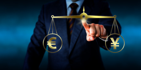 equate: Torso of a trader reaching out to equate the Euro sign at par with the China Yuan symbol on a golden weight scale. Financial metaphor for the modern foreign exchange market. Illustration and photo. Stock Photo