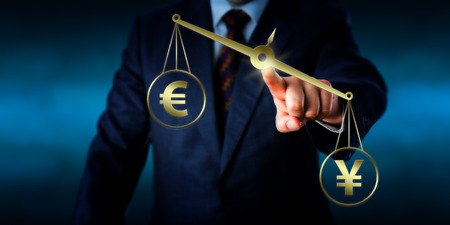 comparing: Torso of a financial trader touching a virtual golden pair of balances on which the China Yuan sign is outbalancing the Euro symbol. Financial metaphor for the modern foreign exchange market.