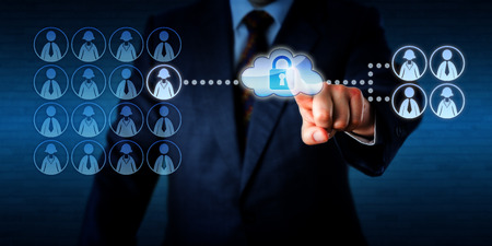 mobile security: Manager outsourcing the work task of a single female employee via the cloud to a group of four freelancers, two workers of each gender. He is touching a virtual cloud containing a secured padlock. Stock Photo
