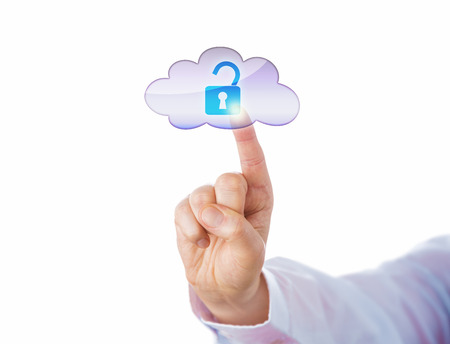 Cutout of index finger unlocking a virtual lock icon in the cloud by touch. Technology concept for cloud computing, information access and cyber security. Close up shot isolated on white background.