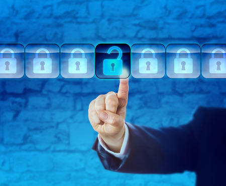 Hand of a business person is unlocking an information packet in a data stream. Technology concept for computer crime, cyberattack, cyber theft, white collar crime, cyberwarfare and industrial spying. Stock Photo