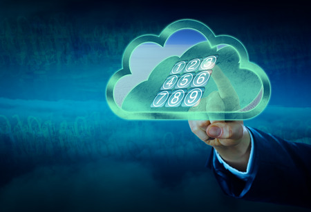 inwards: Hand in cyberspace is unlocking a vaulted door in a cloud secured by an electronic keypad lock. The safe door is opening inwards revealing a distant horizon. Concept for virtual security technology. Stock Photo
