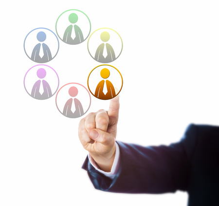 entity: Arm of a manager is selecting one of six differently colored, male worker icons. Metaphor for equal opportunity employment objectives, business case for diversity and multicultural organization.