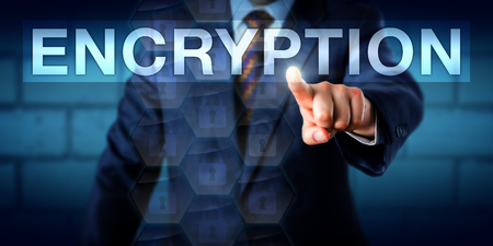 secure: Manager is touching the word ENCRYPTION onscreen. Technology background and business concept for information protection, secret communication, secure data transit and confidentiality of messages.