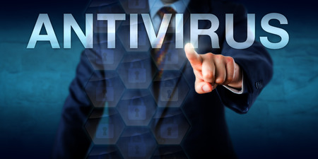 executable: Manager is touching the word ANTIVIRUS on a screen. Technology concept for anti-virus or anti-malware software, abbreviated as AV. Locked data packets float onscreen. Copy space over blue background. Stock Photo