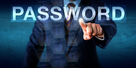 White collar worker is pressing a PASSWORD text box on a touch screen interface. Business metaphor for authorized network access and secure authentication processes. Copy space over blue background.