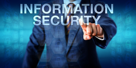 background information: Management consultant is touching the words INFORMATION SECURITY onscreen. Technology concept and business background for defensive InfoSec practices and preservation of information confidentiality.