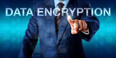 technology metaphor: White collar worker is pushing, the word DATA ENCRYPTION onscreen. Technology metaphor and business background for processes of encoding information for use by authorized recipients only.