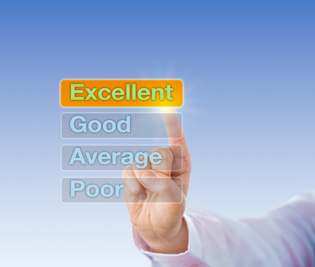 performance appraisal: Index finger is selecting EXCELLENT on a touch screen interface. The Excellent button is highlighted atop four choices, followed by Good, Average and Poor. Business concept for performance appraisal.