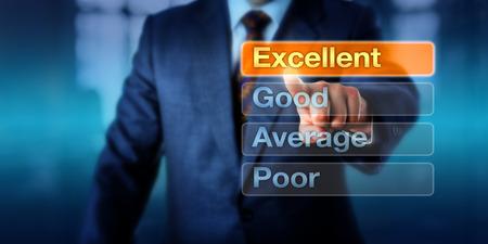 ottimo: Risorse Umane è la scelta eccellente in cima a quattro pulsanti, seguite da buoni, media e poveri. metafora business per la valutazione della performance, l'autovalutazione e la discussione lo sviluppo della carriera.