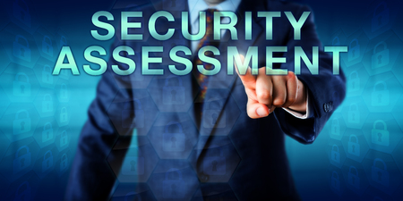 Consultant is touching SECURITY ASSESSMENT. Business concept and technology metaphor for the study of security and the process of locating security vulnerabilities and risks to identify improvements.