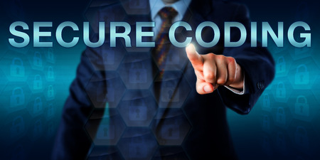 Security professional is touching the capitalized words SECURE CODING onscreen. Business metaphor and technology concept for software development devoid of defects, bugs and security vulnerabilities. Stock Photo