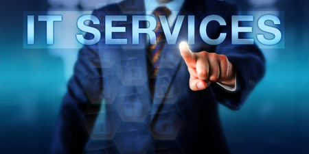 service providers: Management consultant pressing IT SERVICES onscreen. Technology concept and business metaphor for the people, policies and structured processes deployed by information technology service providers.