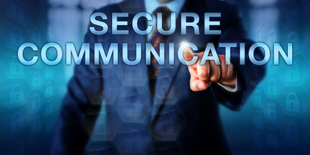excluding: Expert pressing SECURE COMMUNICATION on a touch screen interface. Business metaphor and technology concept for a protected, private and confidential communication channel excluding any third party.
