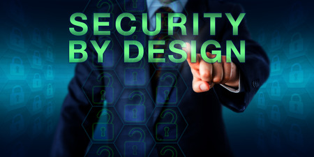 secure: Manager pressing SECURITY BY DESIGN on a touch screen interface. Business metaphor and technology concept for the software engineering process of designing software securely from its very inception.