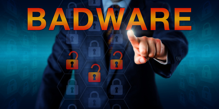 disrupt: White collar malware author is pressing BADWARE on a touch screen. Three unlocked lock icons embedded in hexagonal shapes do represent compromised data, documents or files. Security software concept.