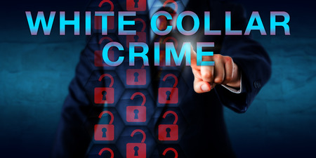 Detective pressing WHITE COLLAR CRIME onscreen. Unlocked virtual padlock icons representing security breach. Business and technology concept for nonviolent crime committed by professional offenders.