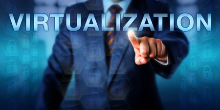 Manager is touching VIRTUALIZATION on a screen. Many locked padlock icons entailed in virtual hexagons are structured into an abstract and independent layer. Technology concept and business metaphor.