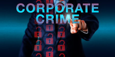 offense: Professional security adviser pushing CORPORATE CRIME onscreen. Unlocked red padlock icons represent hacked virtual security prevention mechanisms. Technology concept for corporate criminal offense.
