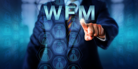 administer: Male HR manager is touching WFM onscreen. Female and male worker icons displayed on hexagonal virtual buttons do form a planning matrix. Business and technology concept for workforce management. Stock Photo