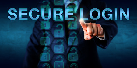 logon: Corporate client pressing SECURE LOGIN onscreen. A stream of open virtual lock icons embedded in a hexagonal structure do represent a secure log-in process. Security technology concept. Copy space.