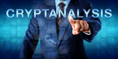 gain access: Male cryptanalyst is touching CRYPTANALYSIS onscreen. Many closed padlock icons embedded in hexagonal matrix structures do represent encrypted data sets within a cryptographic security system. Stock Photo