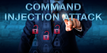 attacker: Cyber attacker is touching COMMAND INJECTION ATTACK onscreen. Red cracked lock icons in a hexagonal code matrix represent results-based command injections. Security technology concept. Copy space.